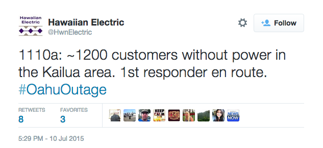 Hawaii Electric posts outage info on Twitter
