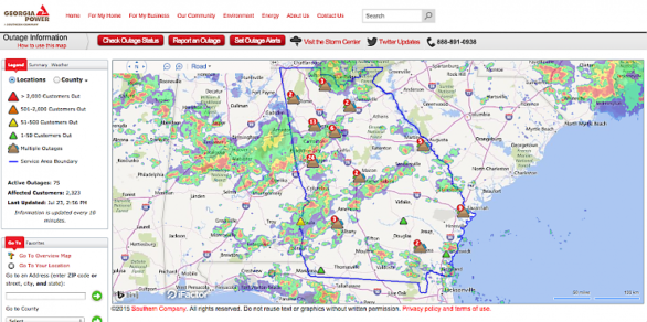 Interactive outage map on Georgia Power website