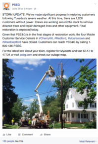 PSEG posts outage info on Facebook