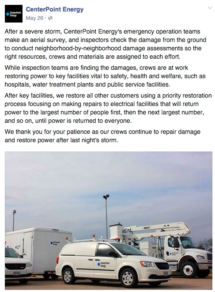 Centerpoint Energy posts outage info on Facebook