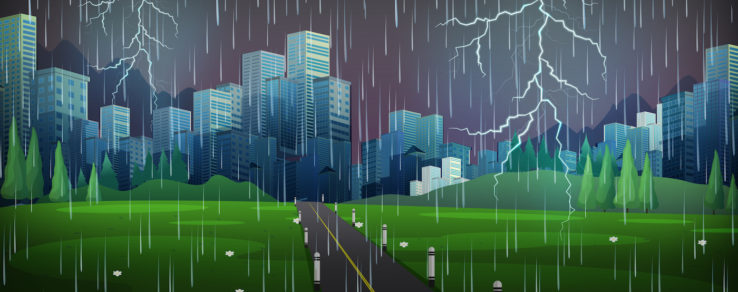 Thunderstorm in the city
