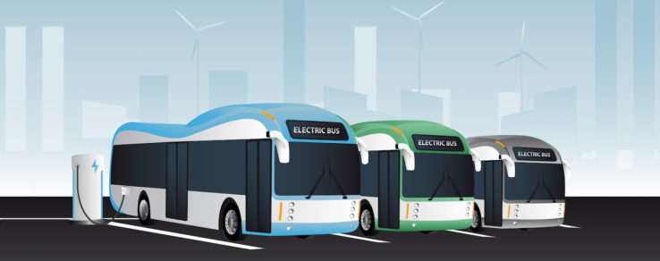 Electric buses parked in a city