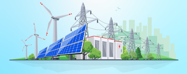Illustration of electric power plants and renewable energy