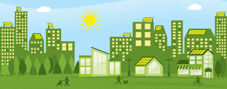 Illustration of a city powered by solar energy