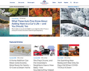 Screen shot of Farmers Insurance content marketing example