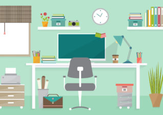 Illustration of home office using energy