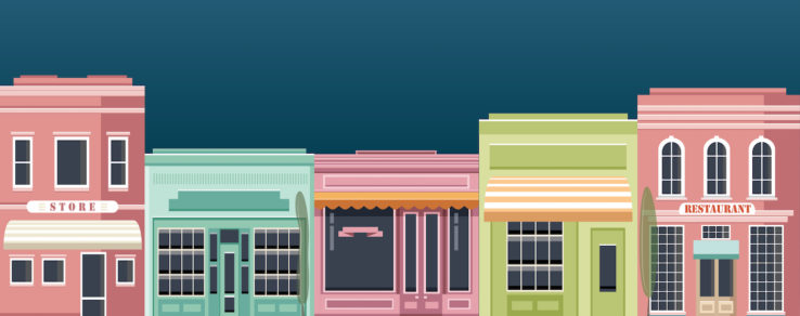 Illustration of small business customer segmentation on main street