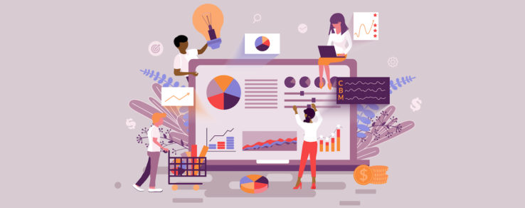 Illustration of marketers using performance metrics in content strategy