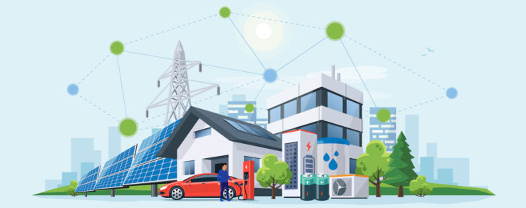 A neighborhood and renewable energy sources are connected by microgrids