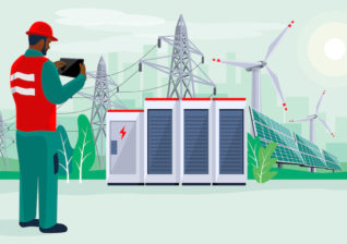 Illustration of utility worker looking at renewable energy in the Biden era