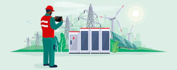 Illustration of utility worker looking at renewable energy in the Biden era