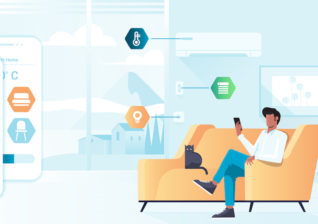 Illustration of new smart home devices unveiled at CES in 2021