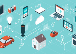 Illustration of smart home technology used by energy utility customers