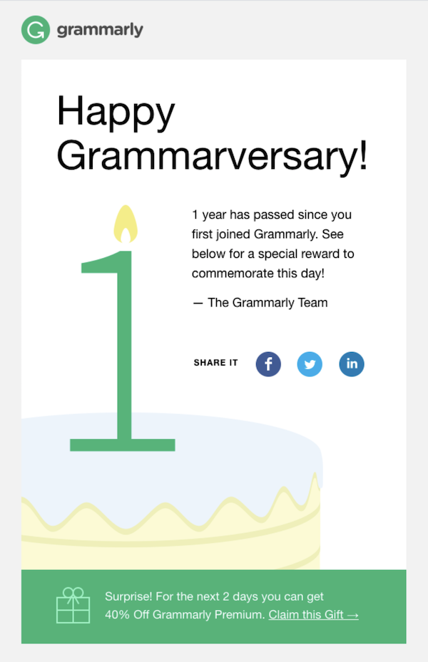 Example of anniversary email used in email marketing trends