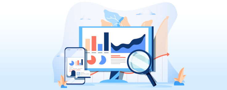 Illustration of marketers using performance metrics to optimize content strategy