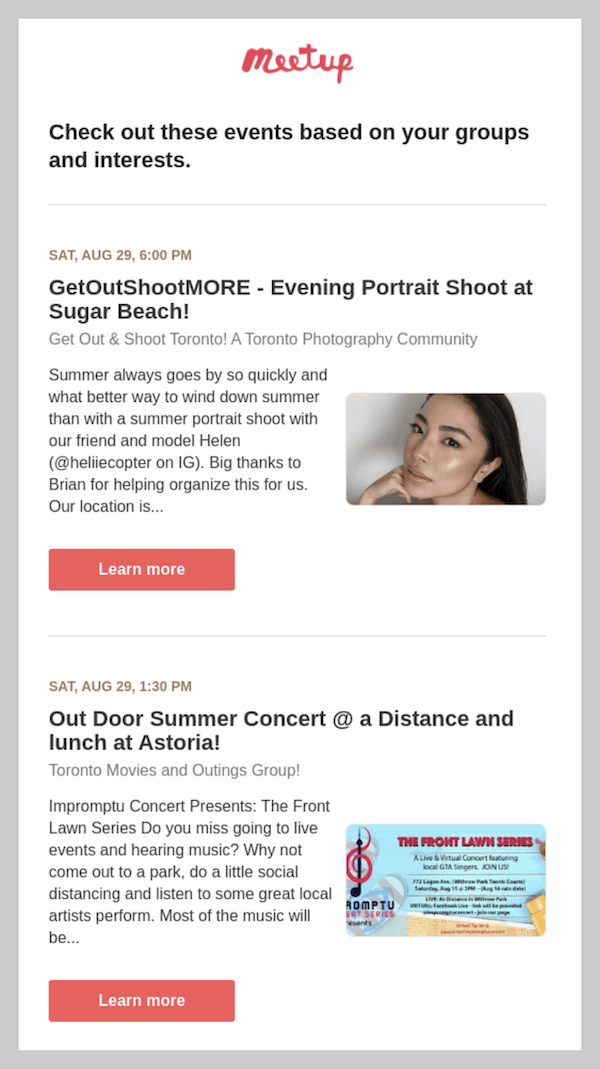 Example of personalization used in email marketing trends