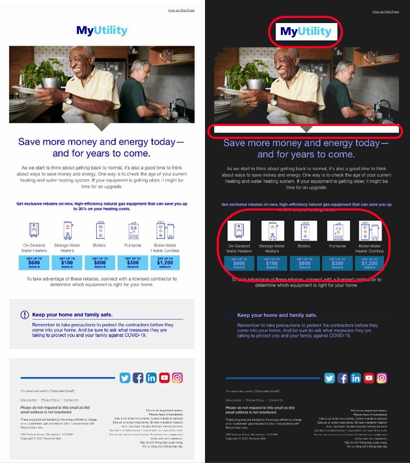 Example of dark mode email design