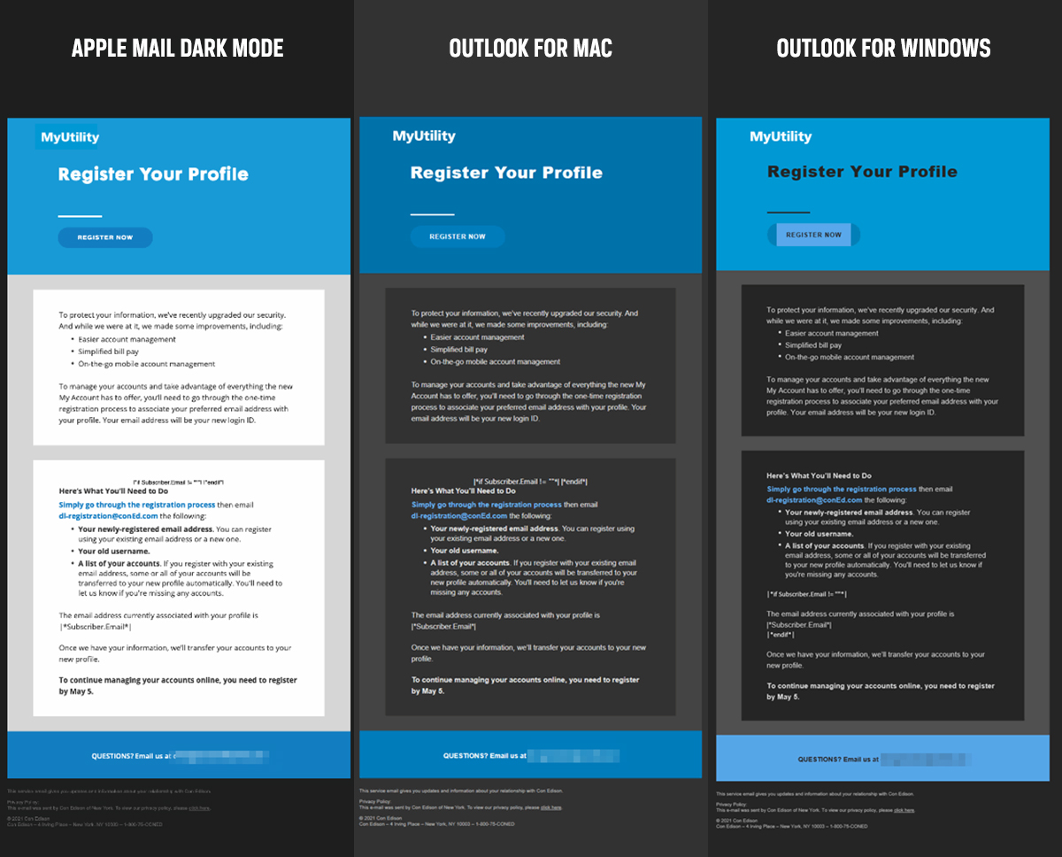 Example of dark mode email testing for different clients