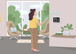 Illustration of customer review of smart thermostats