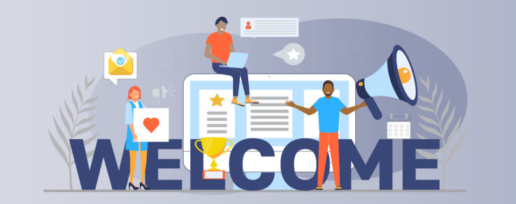 Illustration of marketers using welcome series to build engagement with new customers