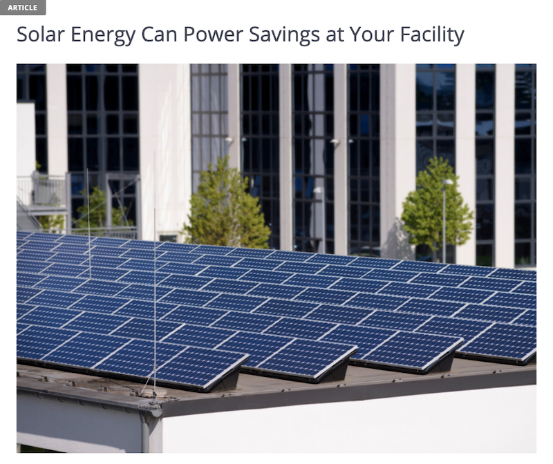 Example of enewsletter content for business customers about solar energy