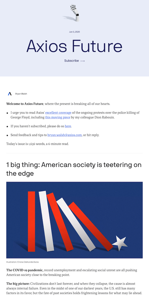 Example of best eNewsletters from Axios