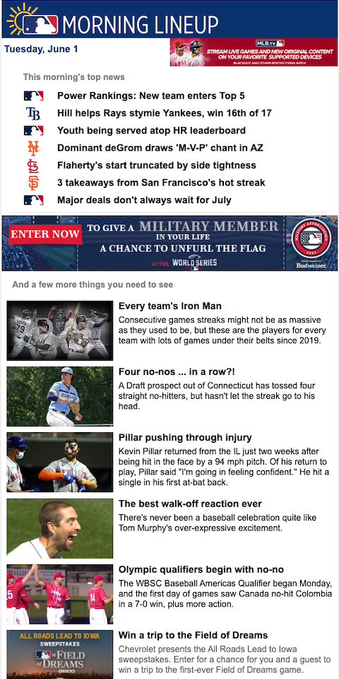 Example of best eNewsletters from MLB Morning Lineup