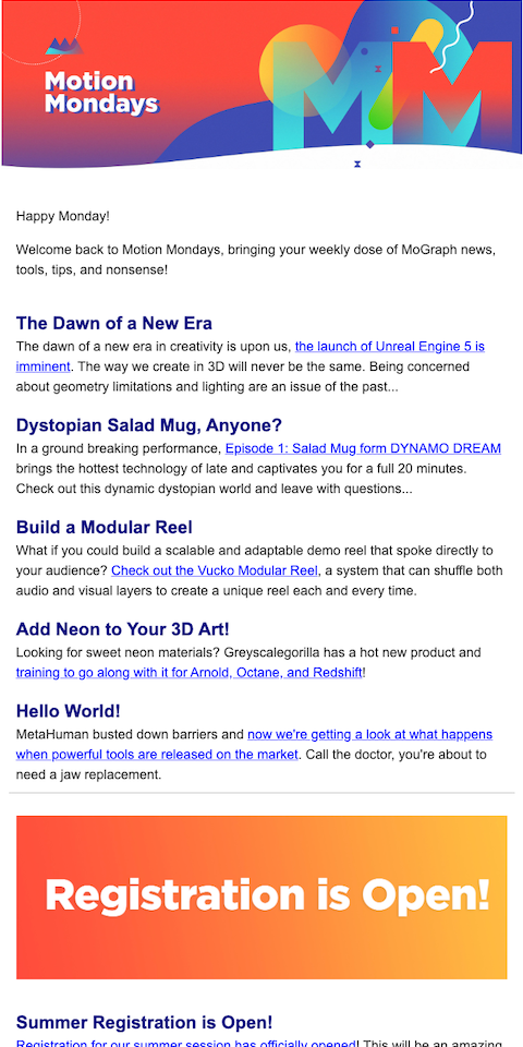 Example of best eNewsletters from School of Motion