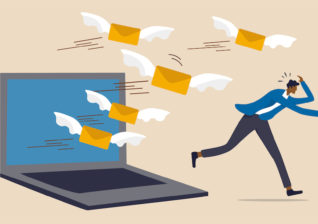 Illustration of energy utility marketer running away from common email marketing mistakes