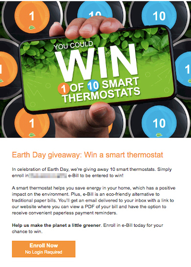 Example of e-bill campaign email with Earth Day theme for energy utility