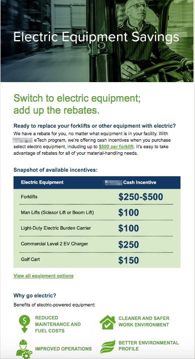Example of email marketing for energy utility electrification program