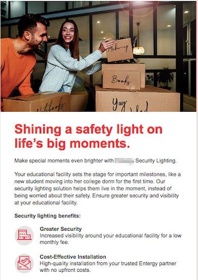 Example of creative promotions email for energy utility business lighting program