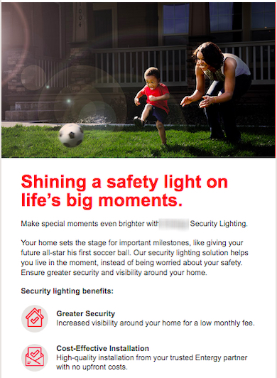 Example of creative program promotions email for energy utility lighting