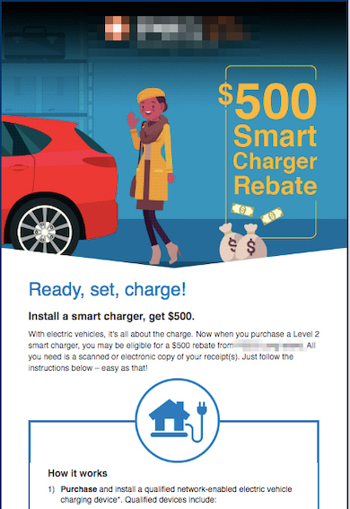Example of creative promotions email for energy utility EV smart charger program