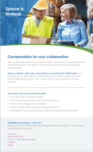 Example of email promotion for commercial demand response program