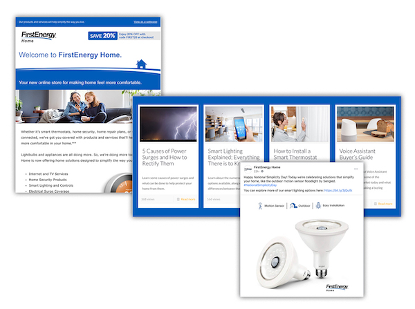 Examples of digital marketing for First Energy Home utility marketplace