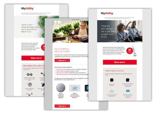 Examples of email marketing promotions for energy utility marketplace