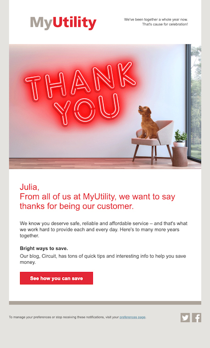 Example of customer anniversary email