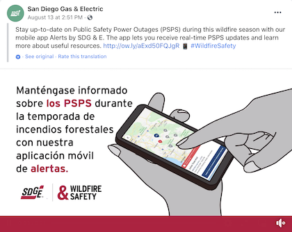 Example of outage communications on social media