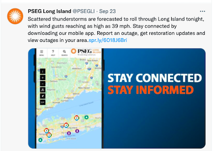 Example of outage communications social post to improve utility customer satisfaction