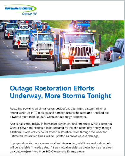 Example of outage communications email to improve utility customer satisfaction